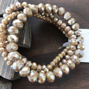 Jewelry - Tan glass beaded bracelets